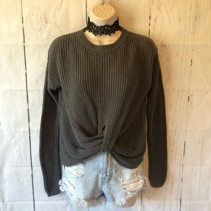 Gray knotted cropped sweater